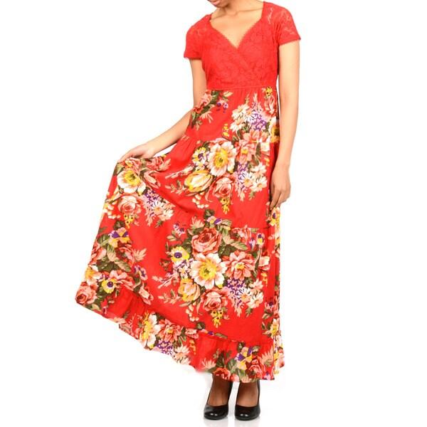 La Cera Women's Lace Boddice Floral Maxi-Dress