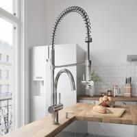 VIGO Dresden Chrome Pull-Down Spray Kitchen Faucet with Soap Dispenser