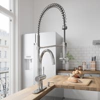 VIGO Dresden Chrome Pull-Down Spray Kitchen Faucet with Deck Plate