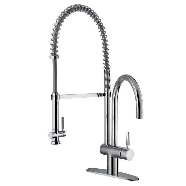 VIGO Dresden Chrome Pull-Down Spray Kitchen Faucet with Deck Plate