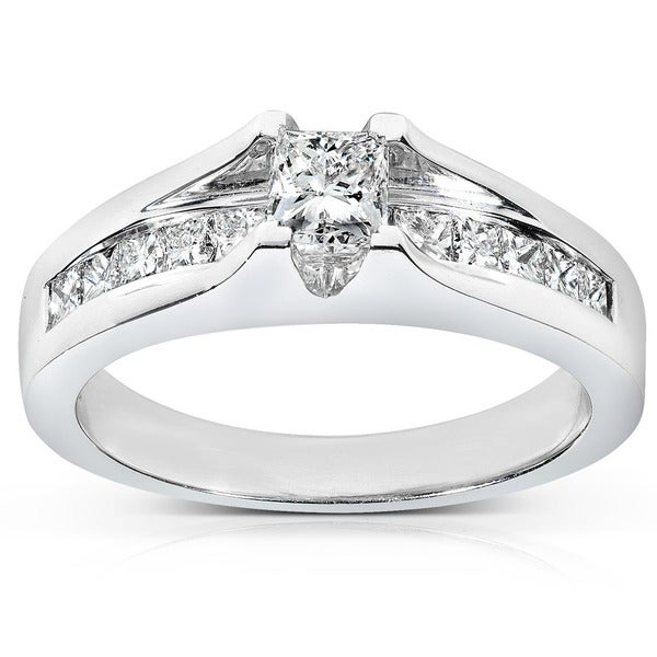 Annello by Kobelli 14k Gold 1ct TDW Certified Princess Cut Diamond Ring (H-I, SI2)