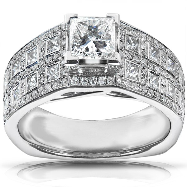 Annello by Kobelli 18k White Gold 1 7/8ct TDW Certified Diamond Engagement Ring (F-G, SI1