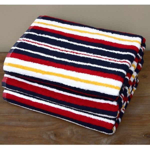 US Polo Association Egyptian Cotton Navy Striped 3-piece Bath Towel Set. Opens flyout.
