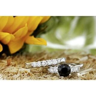 Annello by Kobelli 14k White Gold 1 1/4ct TDW Black and White Diamond Bridal Ring Set