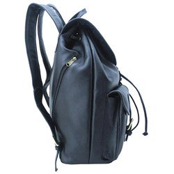 Leatherbay Black 17-inch Leather Backpack - Thumbnail 1