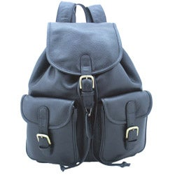 Leatherbay Black 17-inch Leather Backpack - Thumbnail 2