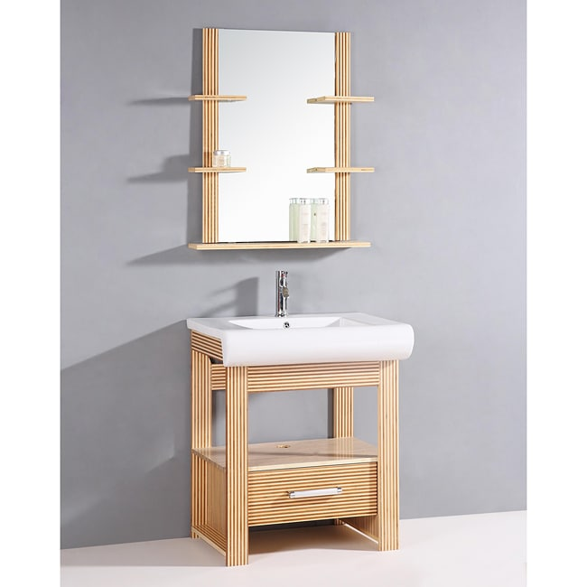 Bamboo 2 Piece 28.5 Inch Single Sink Bathroom Vanity
