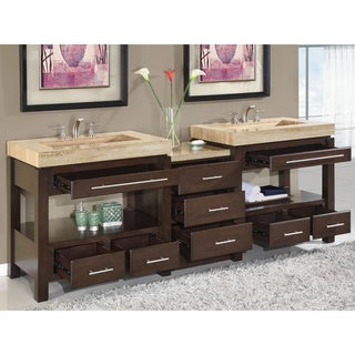 Silkroad Exclusive Travertine Countertop Double Stone Sink Bathroom Vanity