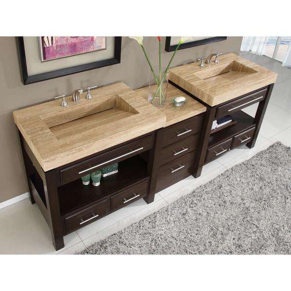 Silkroad Exclusive Travertine Countertop Double Stone Sink - 66 double sink bathroom vanity