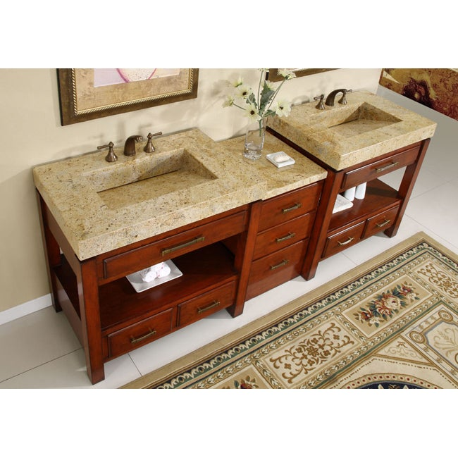 Silkroad Exclusive Kashmir Gold Granite Top Double Stone Sink Bathroom Vanity