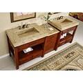 Silkroad Exclusive Kashmir Gold Granite Top Double Stone Sink Bathroom Vanity