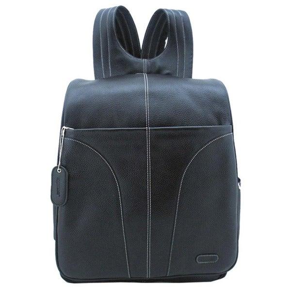 Leatherbay Black Leather Adjustable Strap 15.4-inch Laptop Backpack