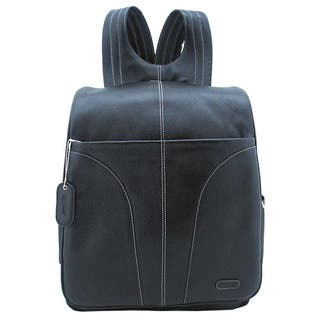 Leatherbay Black Leather Adjustable Strap 15.4-inch Laptop Backpack|https://ak1.ostkcdn.com/images/products/6026622/P13708430.jpg?impolicy=medium