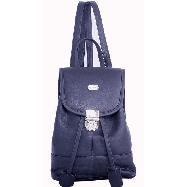 Leatherbay Black Leather Mini Backpack (Leather Mini Back...