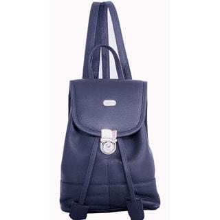Leatherbay Black Leather Mini Backpack
