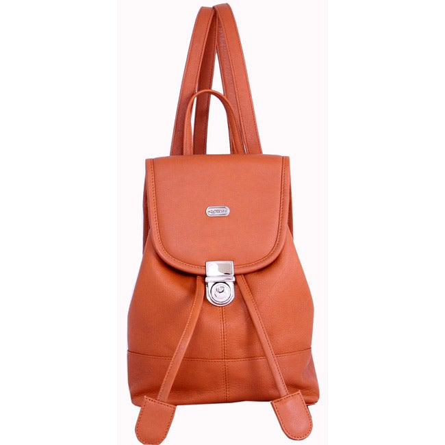 Leatherbay English Tan Leather Mini Backpack - Thumbnail 0