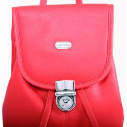 Leatherbay Crimson Red Leather Mini Backpack