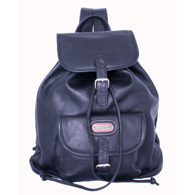 Leatherbay Black Leather Single-pocket Backpack