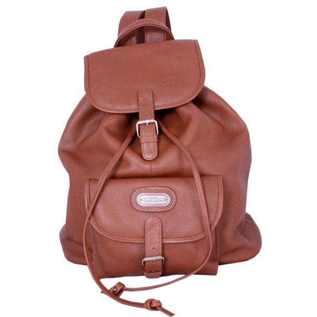 Leatherbay Tan Premium Leather Single-pocket Durable Unisex Backpack