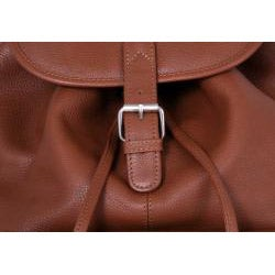 Leatherbay Tan Premium Leather Single-pocket Durable Unisex Backpack - Thumbnail 1