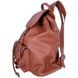 Leatherbay Tan Premium Leather Single-pocket Durable Unisex Backpack - Thumbnail 2