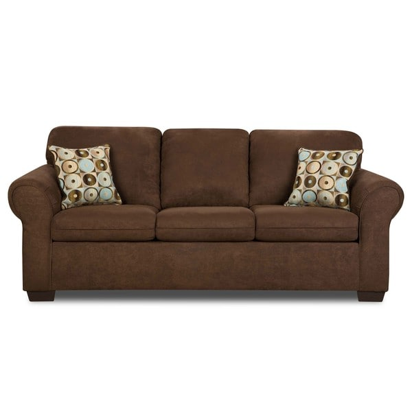 Simmons Sleeper Sofa: Simmons Flat Suede Chocolate Microfiber Queen-size Sleeper