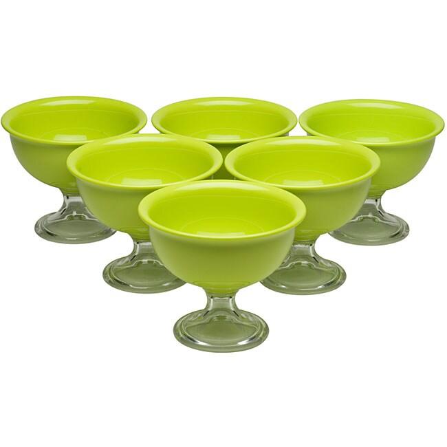 Red Vanilla Green Summer Ice Cream Bowls (Pack of 6)