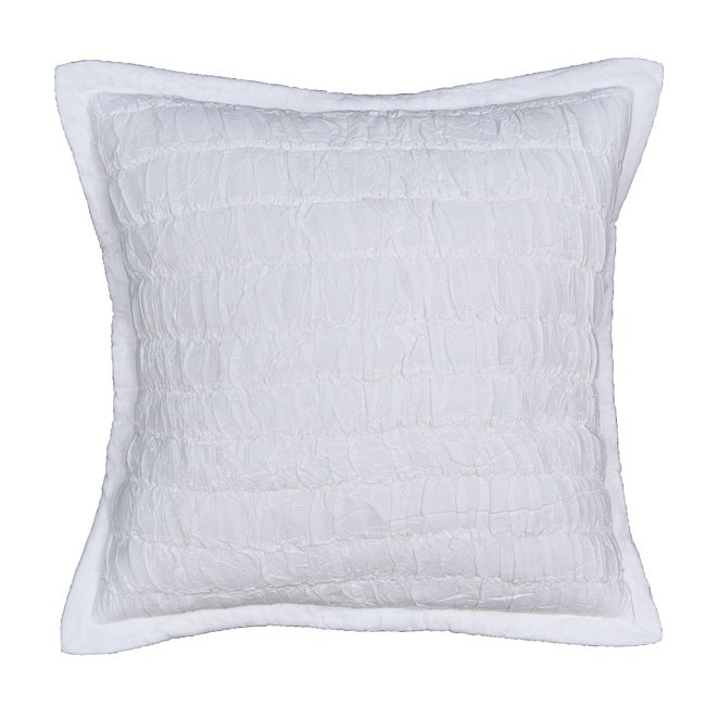 Acelin Ruched White Decorative Pillow