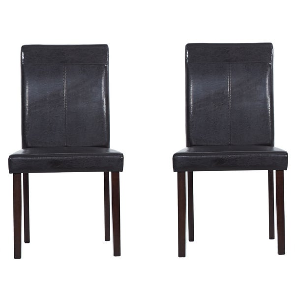 Warehouse of Tiffany Brown Leather Dining Room Chairs (Set of Four)