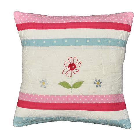 Cottage Home Dixie Appliqued Cotton 16 Inch Throw Pillow
