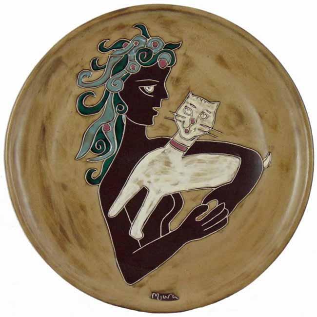 Mara Stoneware Round Cat/Woman Platter (Mexico)