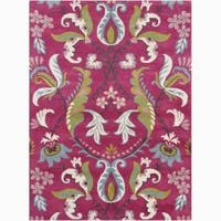 Artist's Loom Hand-tufted Transitional Floral Wool Rug - 5'x7'