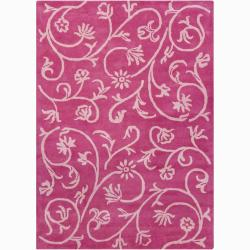 Hand-tufted Bajrang Pink/ Ivory Floral Wool Rug (5' x 7') - Thumbnail 0