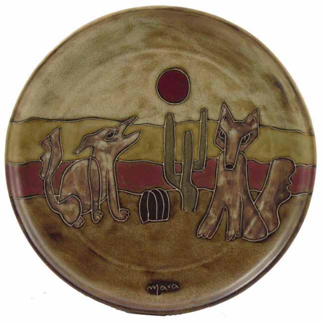Mara Stoneware Round Coyotes Platter (Mexico)