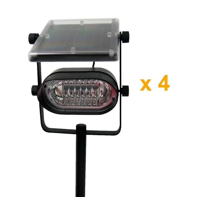 Solar Lights Extra Bright: Ultra-bright Metal Frame Solar Spot Lights (Set Of 4