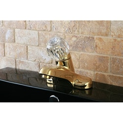 Polished Brass Single Acrylic Handle Bathroom Faucet