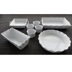 White Stoneware Bakeware 8-piece Set