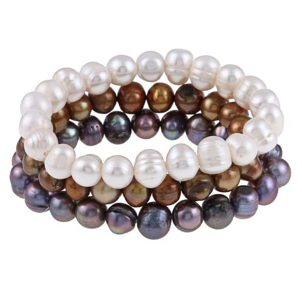 Pearl 7-inch Stretch Bracelet Set (Set of 3)(7-8mm)