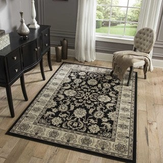 "Westminster Agra Black Power-Loomed Rug (2' x 3'3"")"