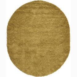 """Artist's Loom Hand-woven Wool Shag Rug (7'6x9'6 Oval) - 7'6"""" x 9'"""