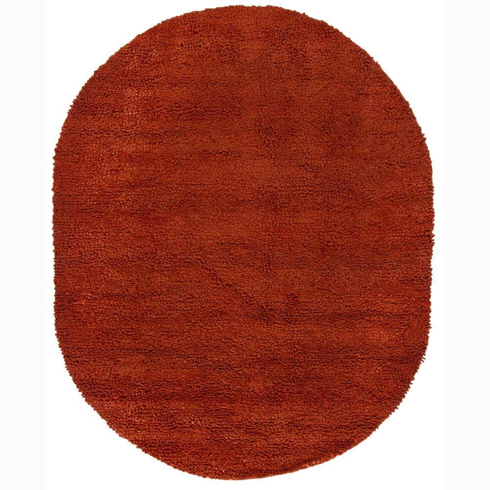 Artist S Loom Hand Woven Wool Shag Rug 7 6x9 6 Oval