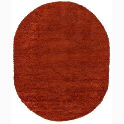 Artist's Loom Hand-woven Wool Shag Rug (7'6x9'6 Oval)