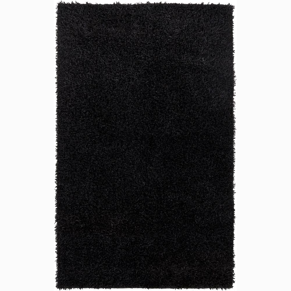 Handwoven Black Mandara Shag Rug (5' x 7'6)