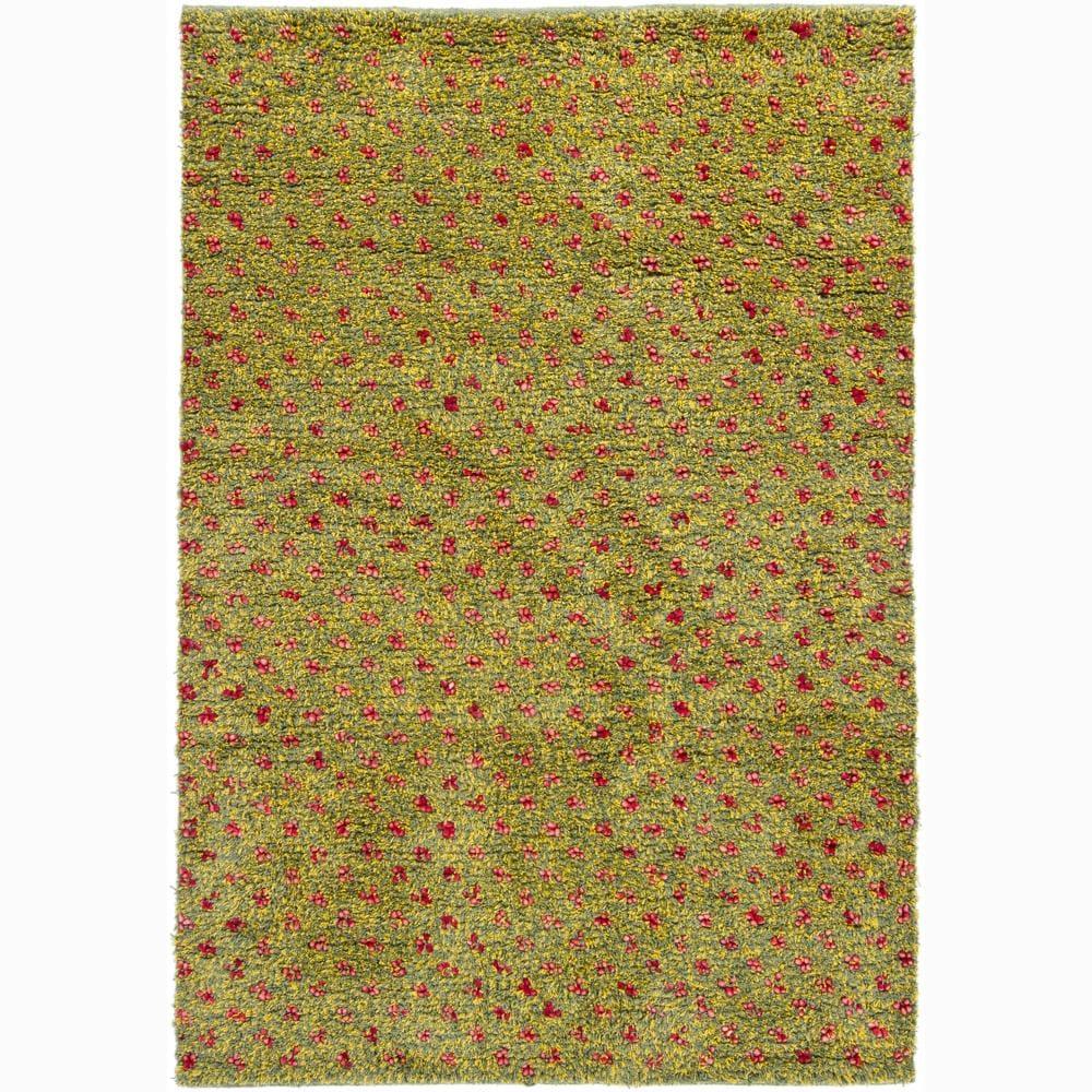 Artist's Loom Hand-woven Wool Shag Rug - 5' x 7'6