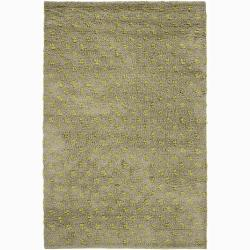 Artist's Loom Hand-woven Wool Shag Rug - 7'9 - Thumbnail 0