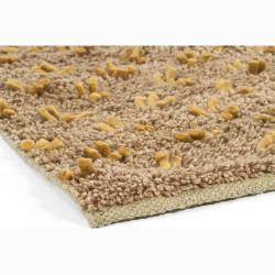 Brown and Gold Hand-woven Mandara New Zealand Wool Rug (2' x 3')