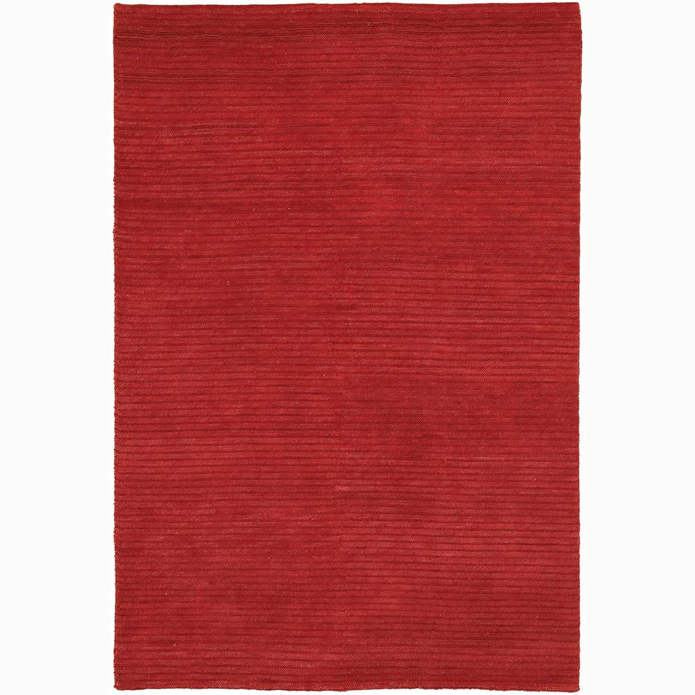 Handwoven Solid Red Mandara New Zealand Wool Shag Rug (5' x 7'6)