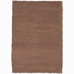 Handwoven Brown One-Inch Mandara New Zealand Wool Shag Rug (7'9 x 10'6) - Thumbnail 0