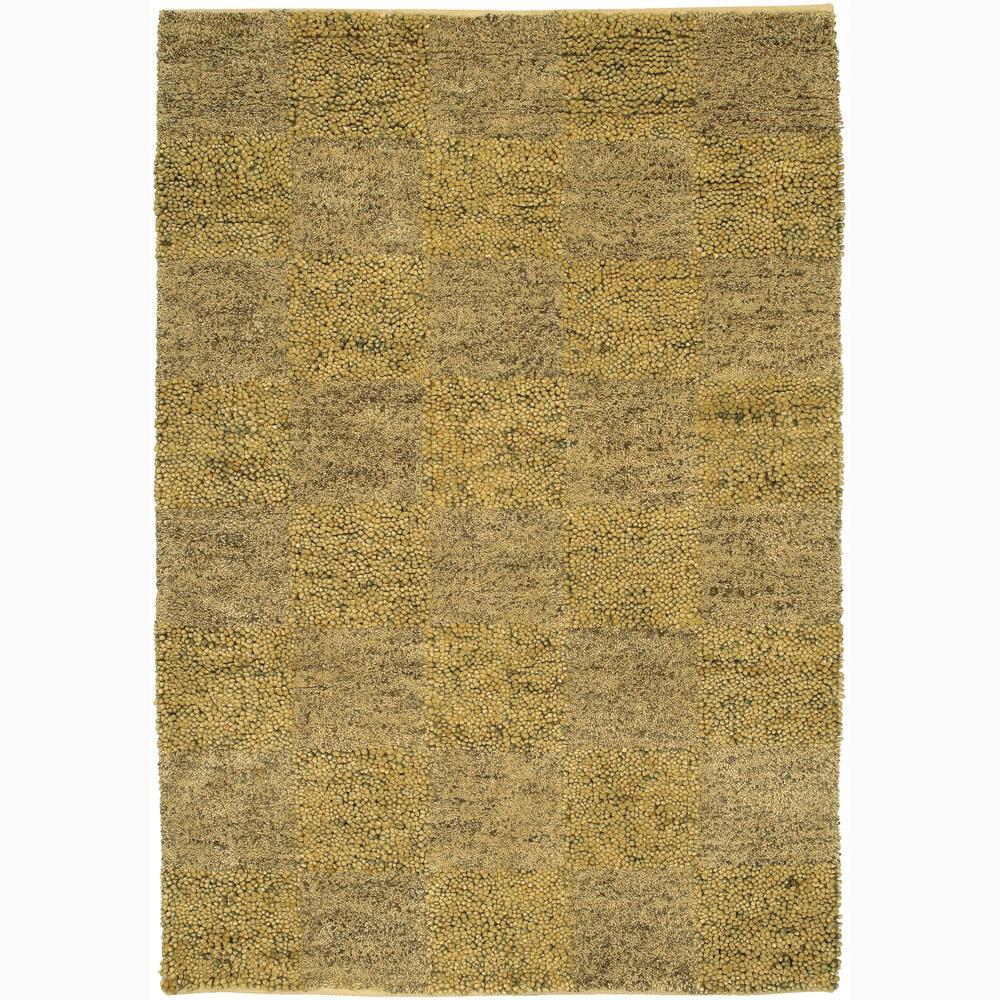Handwoven Gold/Beige/Gray Mandara New Zealand Wool Shag Rug (9' x 13')