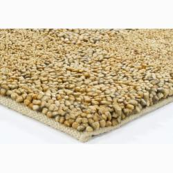 Handwoven Gold/Beige/Gray Mandara New Zealand Wool Shag Rug (9' x 13') - Thumbnail 1